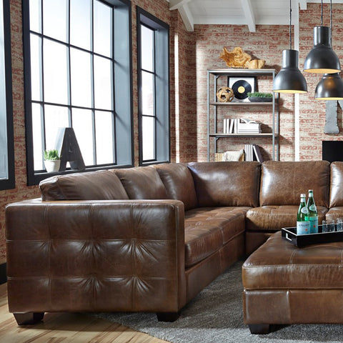 Barrett Brown Leather Sofa