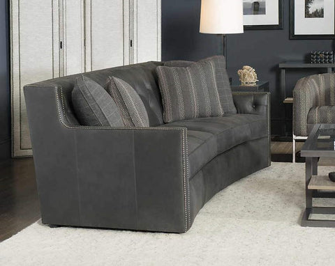 Candace Curved Leather Sofa With Nailhead Trim
