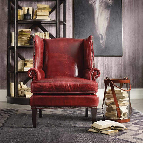 Blakeley Red Leather Chair | Stash Home