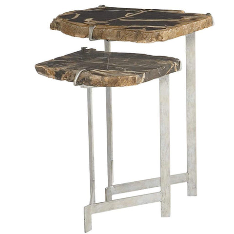 Two Piece Pedtrified Wood Nesting Tables