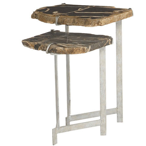 Ardelle petrified wood and steel nesting tables