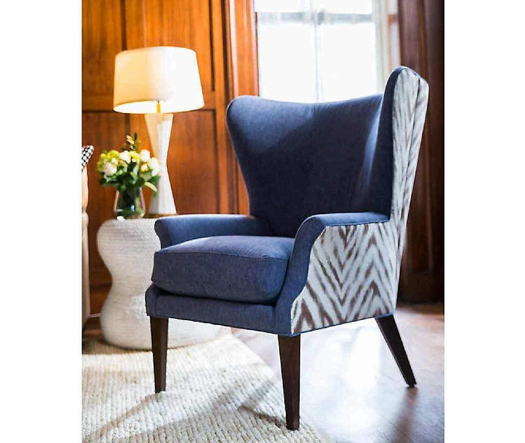 Emilia Blue Wing Chair | Stash Home