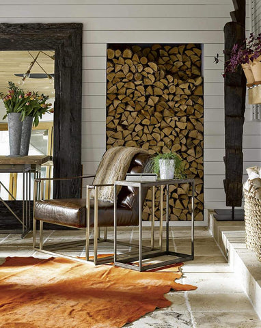 Cowhide rug in rustic style living room