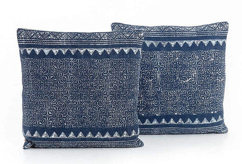 Tribal Print Indigo Pillow-Pair | Stash Home