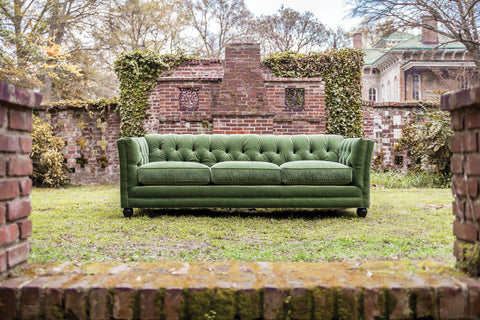 Stevens Tufted Sofa in rich green velvet