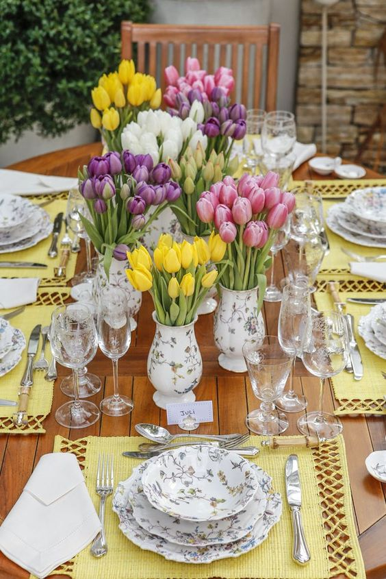 Tulips on Dining Table for Easter