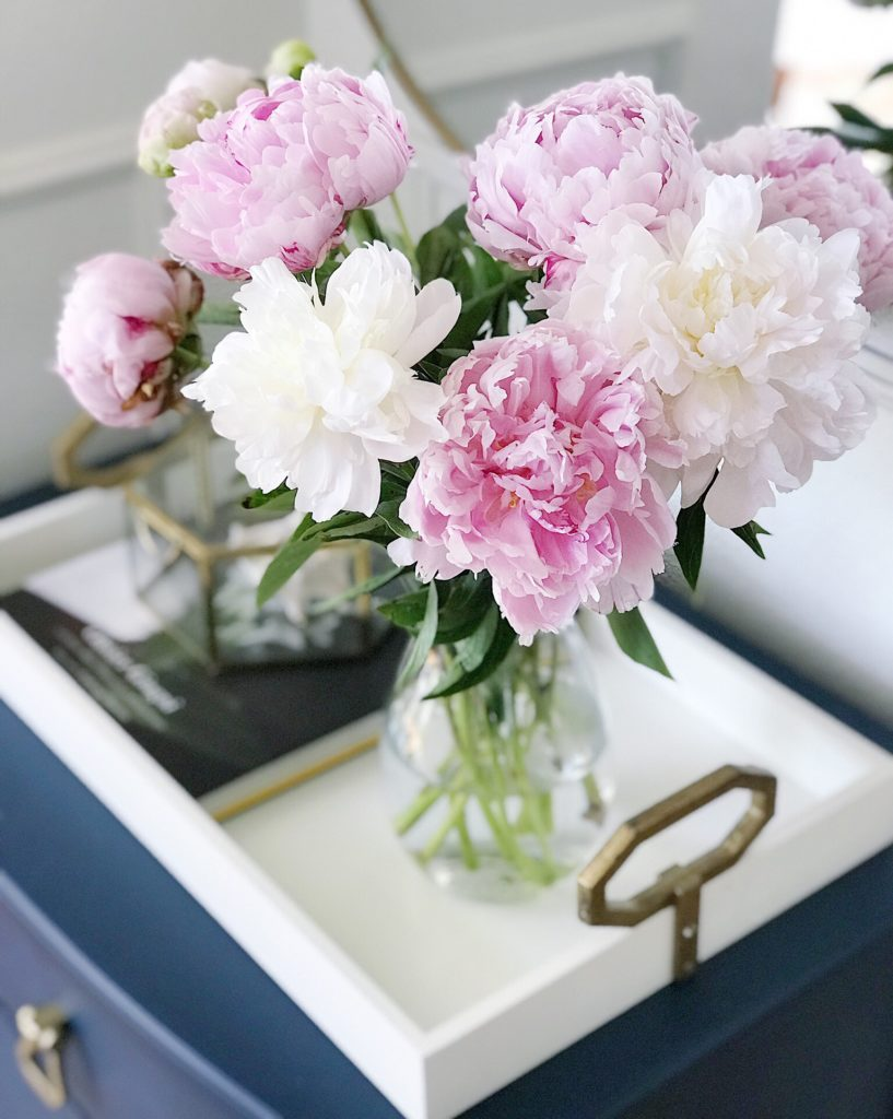 Fresh Peonies on Table
