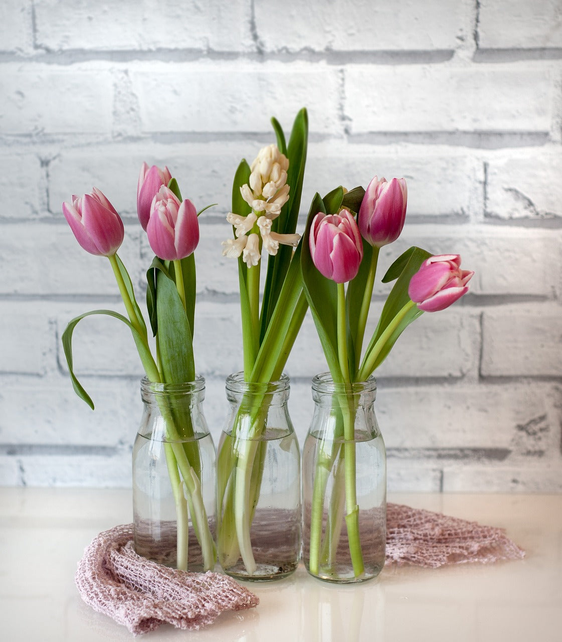 Pink Tulips in Vases