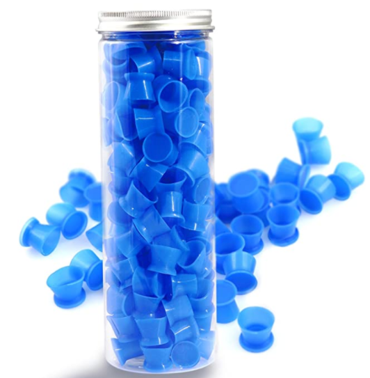Tattoo Ink Caps Cups - 130Pcs/box blue Tattoo Ink Cups With Base,Tattoo Kits,Tattoo Supplies (#16 Large)