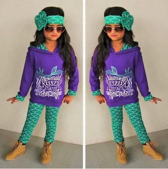 Girls Mermaid 3-Piece Set, Girls Clothing - Planet Moonbow
