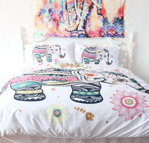 Boho Mandala Elephant Bedding Set, Home Decor - Bedding - Planet Moonbow