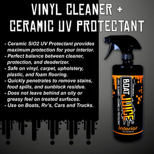 Boat Juice - Interior Cleaner with SiO2 Ceramic UV Protectant - Works Great on Upholstery, Vinyl, Plastic, Foam Flooring and Carpets - 32oz Sprayer Bottle