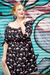 Flamingo Fun Off Shoulder Dress