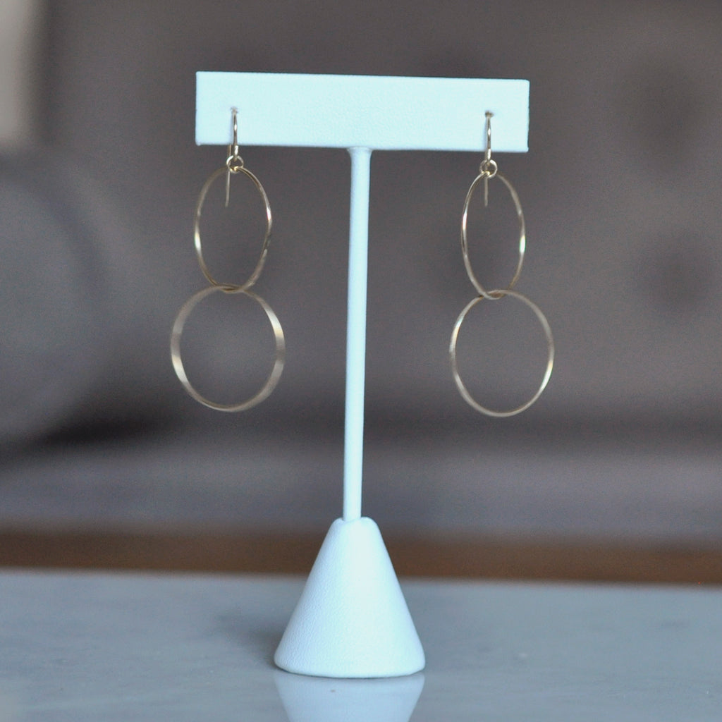 balance double hoop dangle earrings