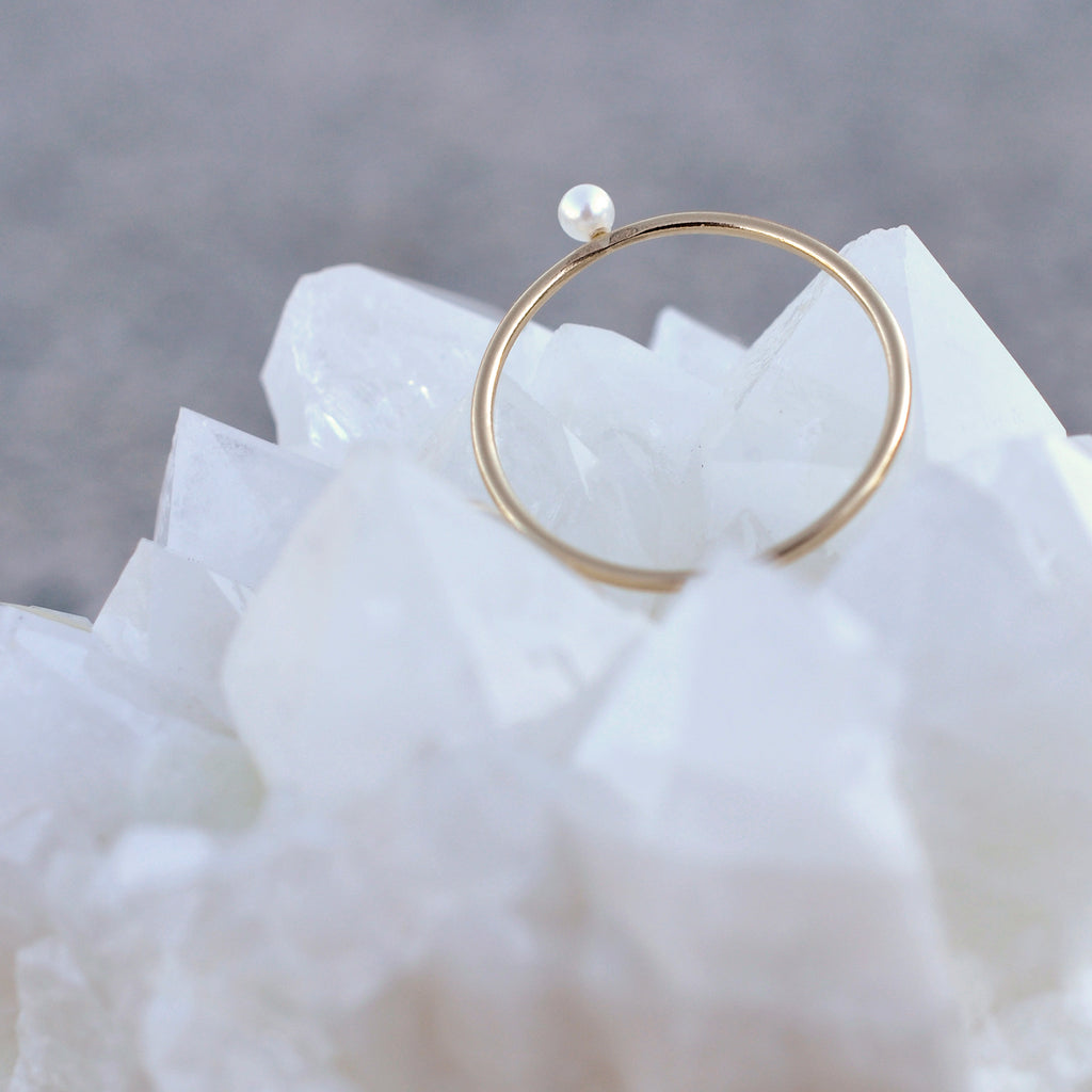 basic baby pearl stacker ring
