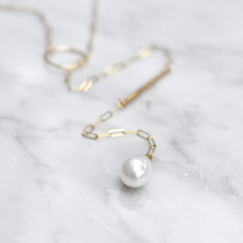 basic pearl bar lariat necklace