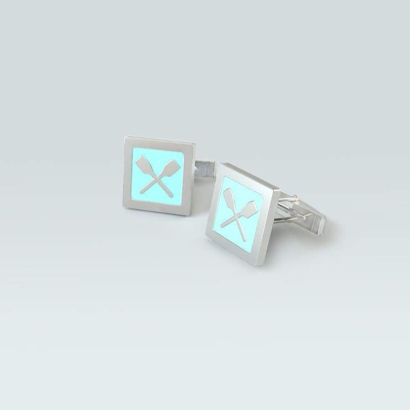 Rowing Cufflinks- Quadrardo Rowing CUfflinks with crossed oars- Strokeside Designs Rowing Jewellery