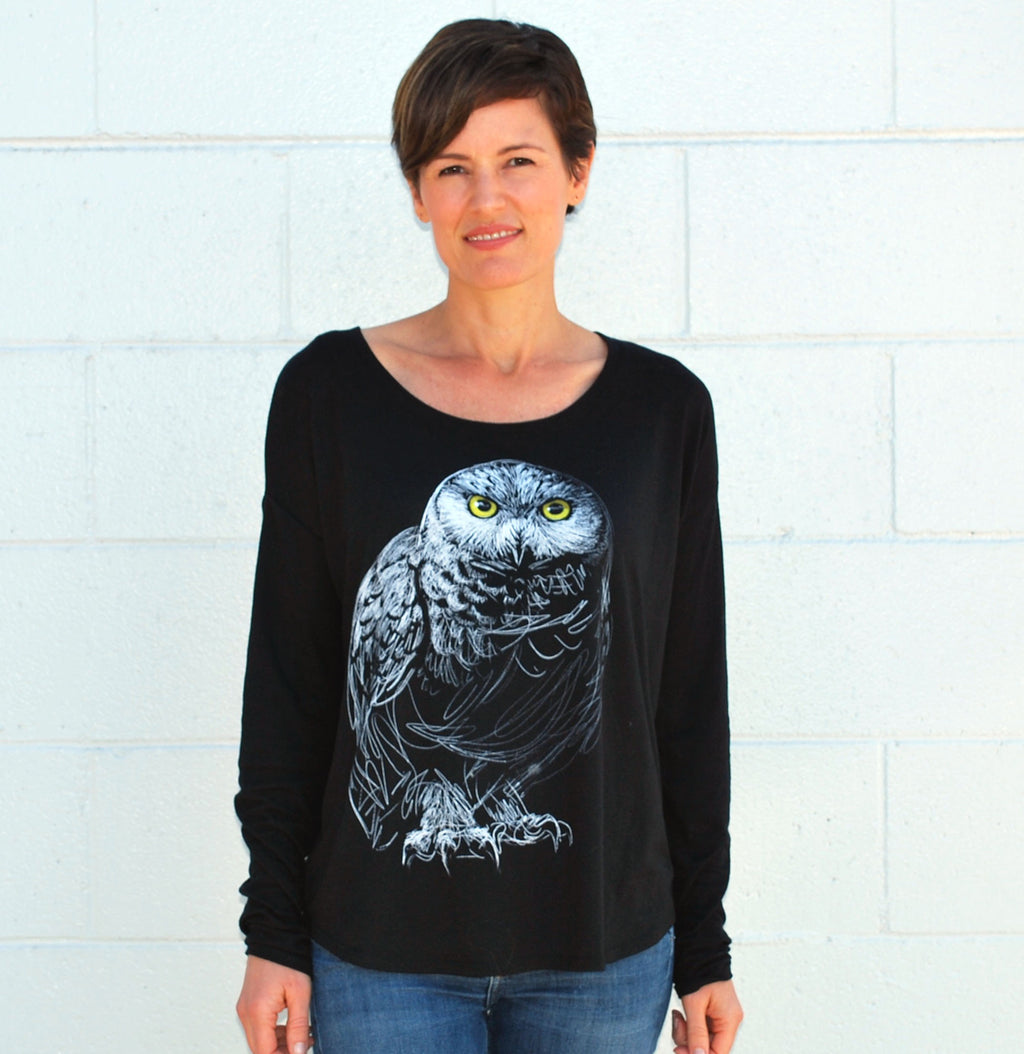 Women's Owl L/S Tee - David's Doodles