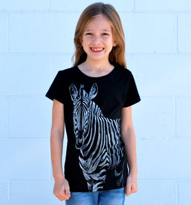Girl's Zebra Tee - David's Doodles