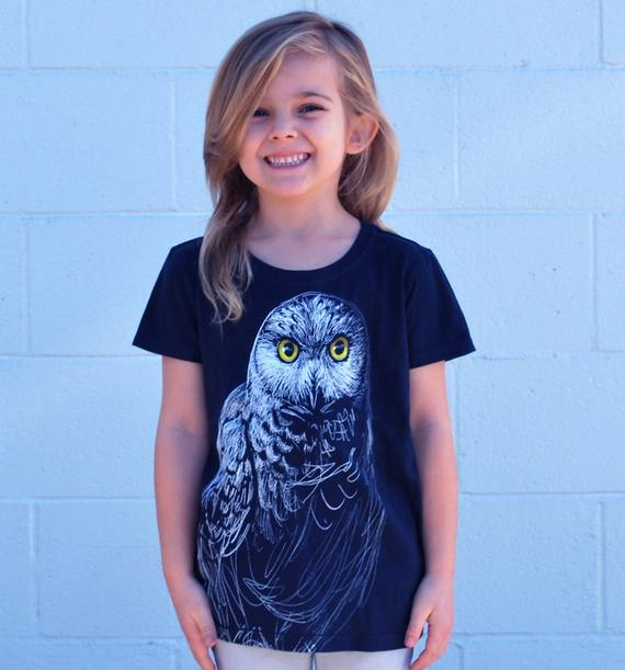 Animal T-shirts - Kids Clothes - Owl Tee in Black - David's Doodles