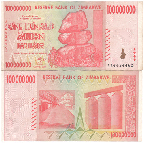 100 Million Zimbabwe Dollars Banknote