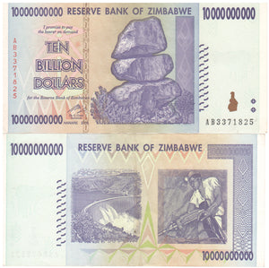 10 Billion Zimbabwe Dollars Banknote