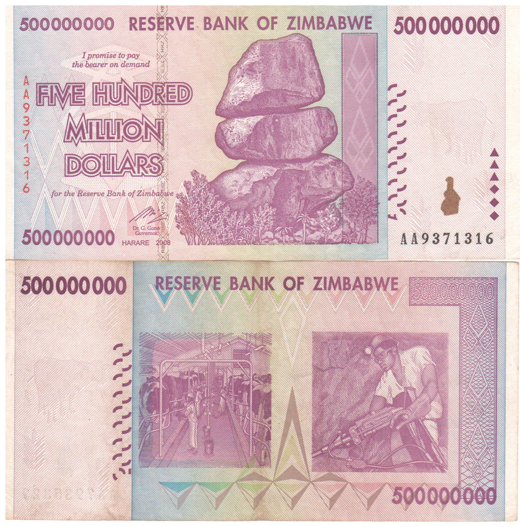 500 Million Zimbabwe Dollars