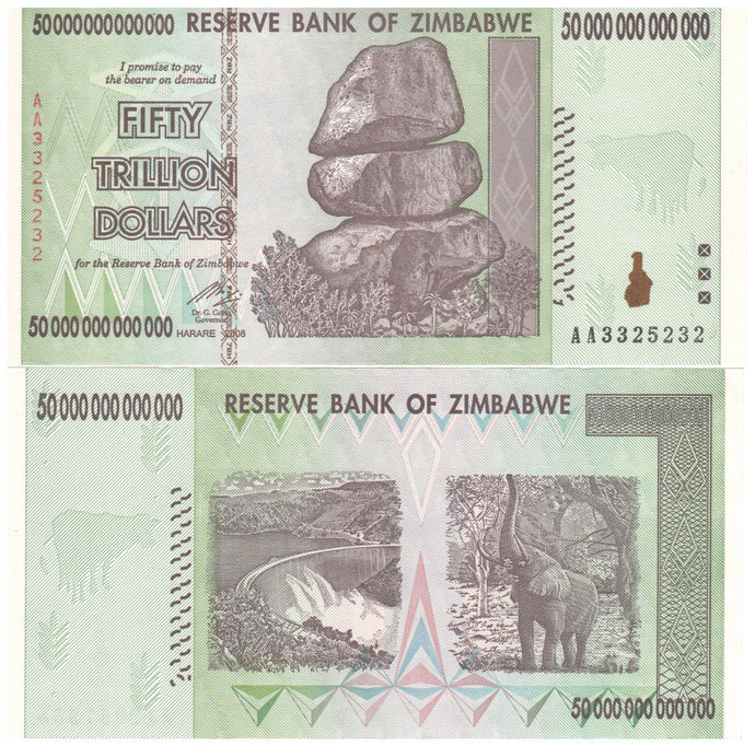 50 trillion zimbabwe dollars