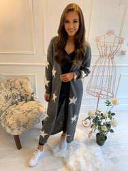 Joules Grey Star Long Line Cardi