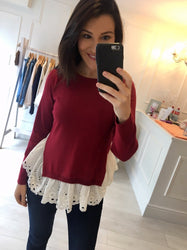 Wine Layered Knit Jumper