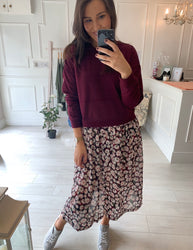 Sasha Wine Print Sweater Dress