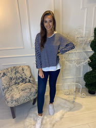 Sadie Navy Two in One Stripe Long Sleeve Top