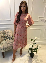 Zeyneb Pink Oakleaf Midi Dress