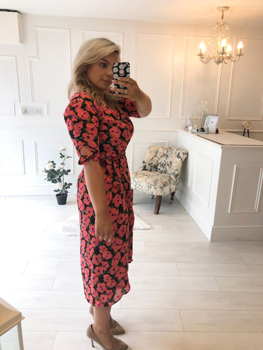 OLIVERA MIDI DRESS IN SILHOUETTE PINK PEONY -Dancing Leopard
