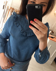 Ruffle Denim Shirt