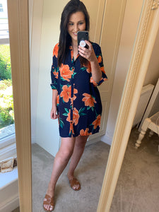 JERICHO SHIRT DRESS IN ORANGE ON NAVY TULIP-Dancing Leopard