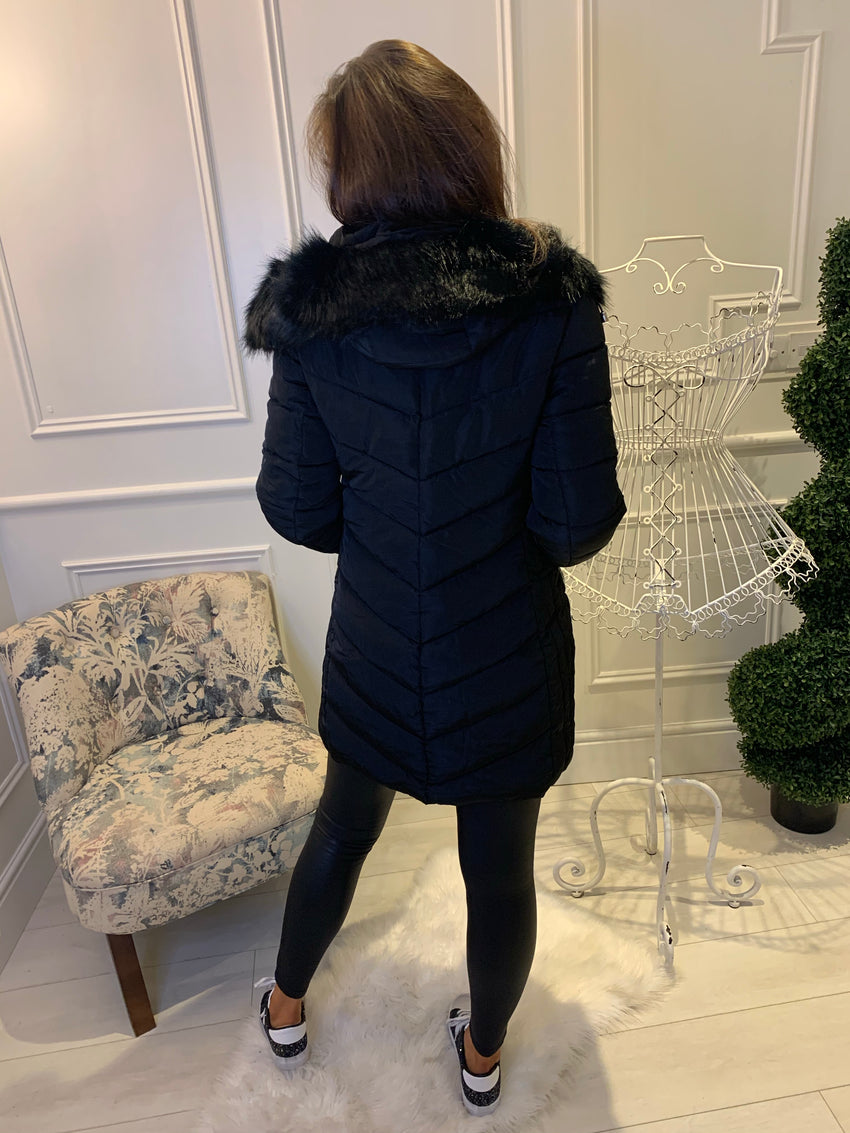 Carly Black Puffa Coat