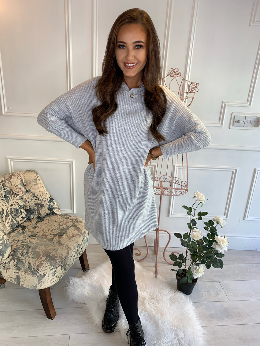 Polly Knitted Hooded Jumper Dress Grey