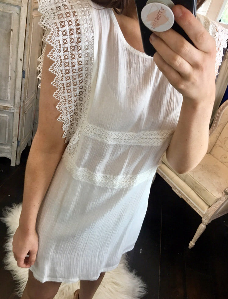 White Crochet Detail Dress