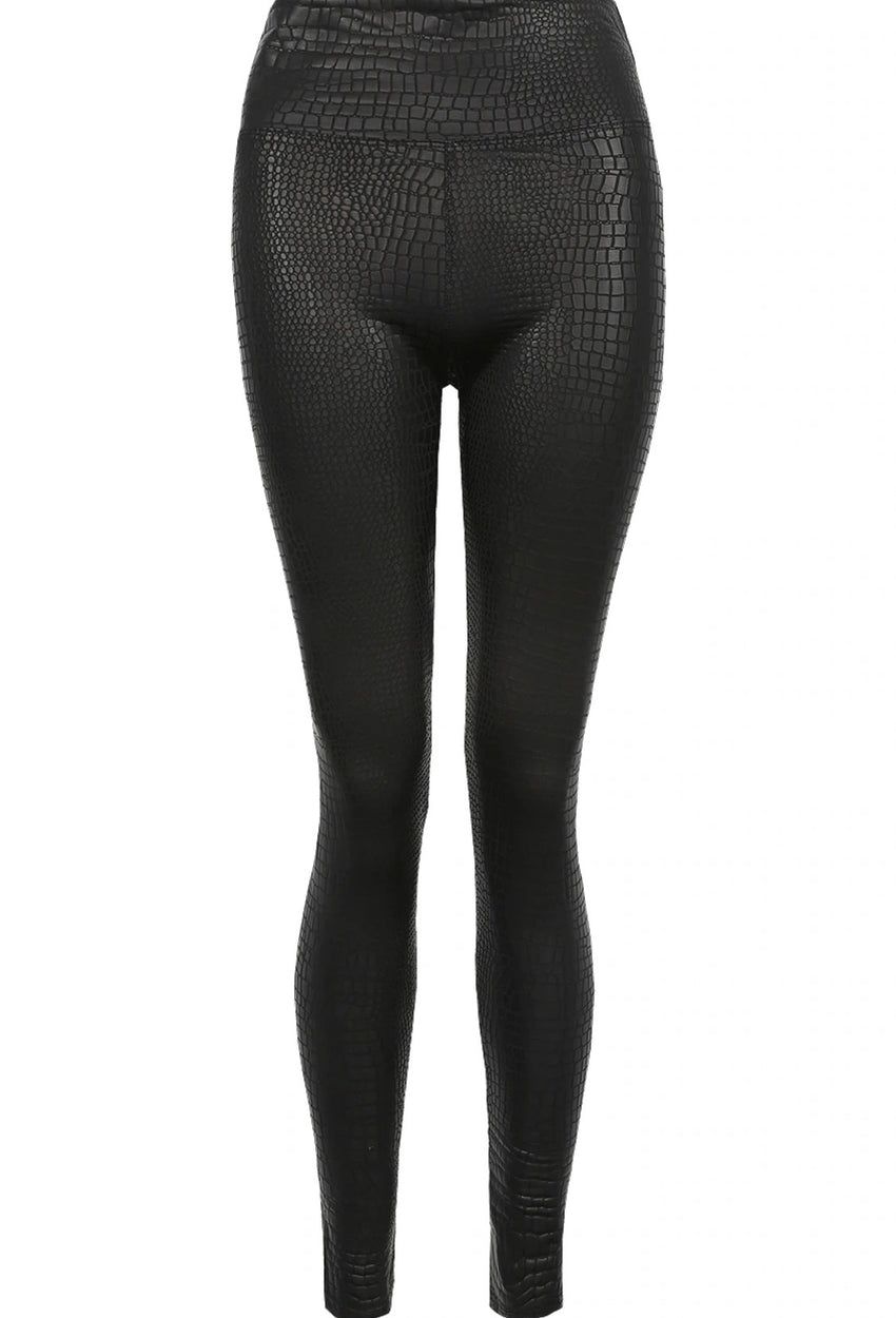 Lexi Reptile Textured High Waist Jeggings