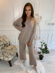 Halle Collared Lounge Suit Beige