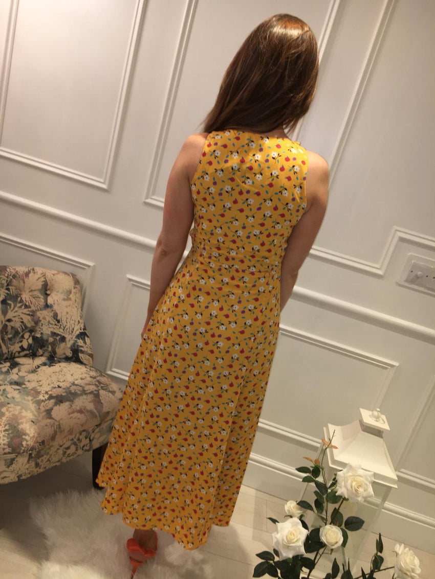 Floral Sunburst Midi Dress