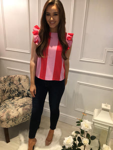 Red/Pink Stripe Top