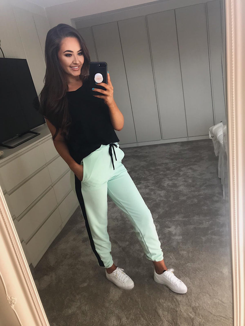 Mint Side Stripe Joggers