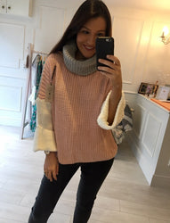Pink Cowl Neck Knit
