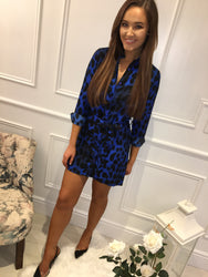 Blue Leopard Shirt Dress Dancing Leopard