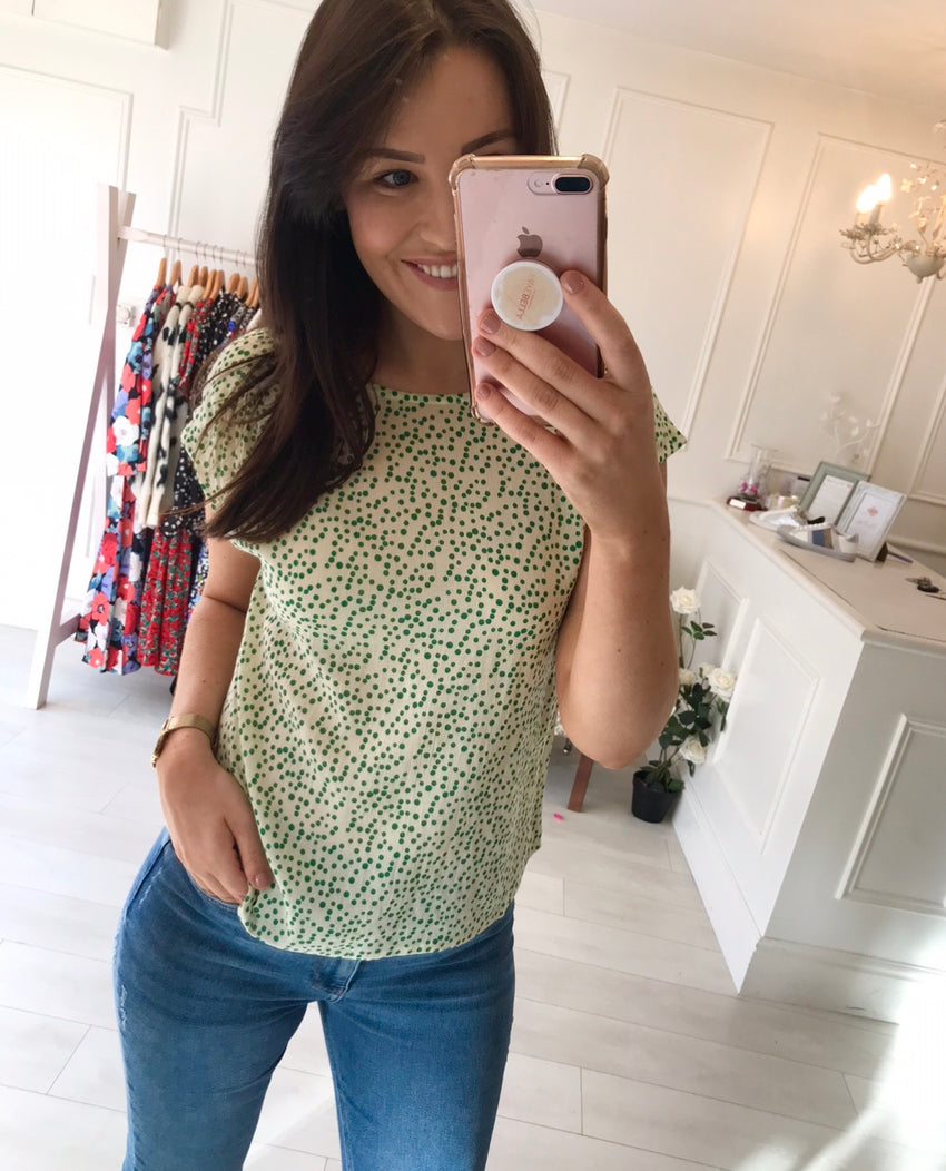 Polly Green Print Top