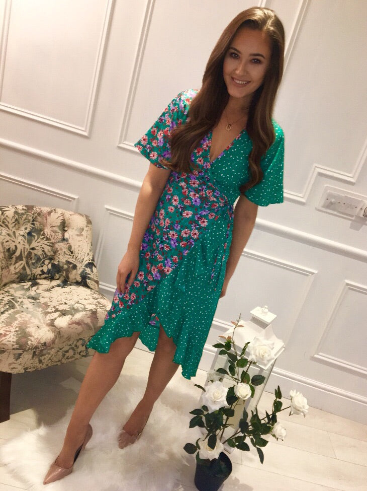 Green Floral Clash Print Dress