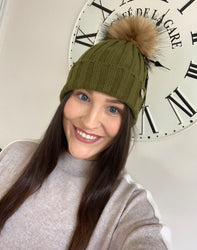 Allie Khaki Adult Original Pom Pom Hat