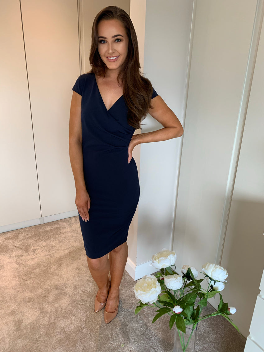 Sabby Navy Ruched Dress